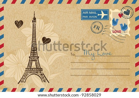 Vintage Valentine's Day Postcard - stock vector