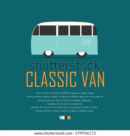 Vintage van car poster. - stock vector