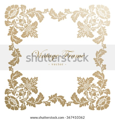 Vintage vector antique frame with floral ornament. Vector illustration - stock vector