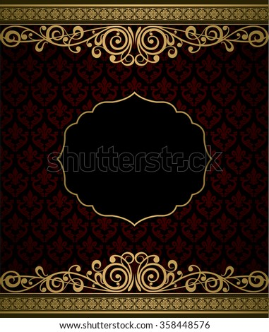 Vintage vector background golden frame