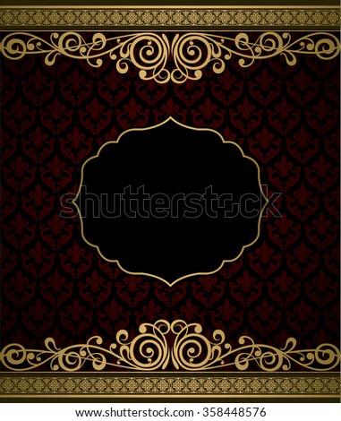Vintage vector background golden frame - stock vector