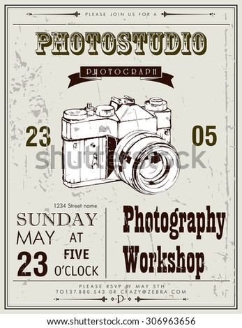 Vintage vector background invitation to photography workshop