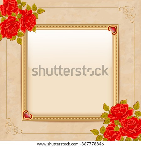 Vintage vector background with a gold frame and red roses.  - stock vector
