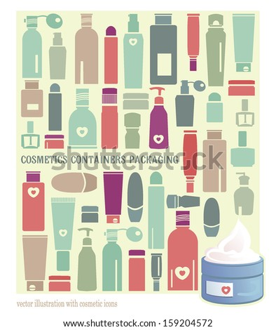 Vintage Vector background with cosmetics elements - stock vector