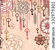 Vintage vector background with flowers,keys and feathers - stock vector