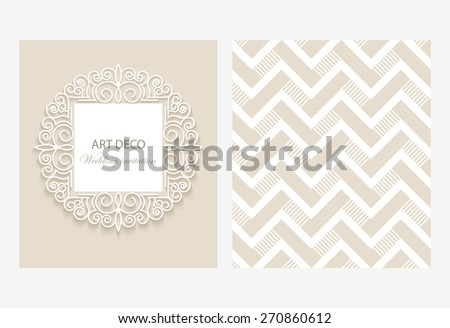 Vintage vector background with paper border decoration, divider, header, ornamental frame template, eps10 - stock vector