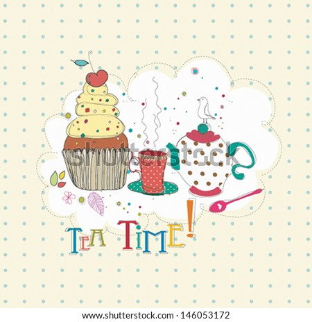 Vintage vector background with tea, cups, cup cake,  bird, flowers and butterfly. Retro Tea party card with place for text. - stock vector