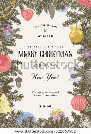 Vintage vector card. Christmas frame with pastel toys and decorations. - stock vector