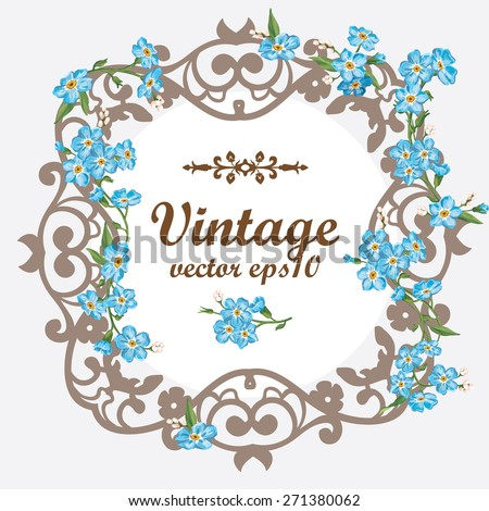 Vintage vector card. Floral ornament and place for text. Abstract framework from the bound plants in style art-nouveau. Vector illustration. - stock vector