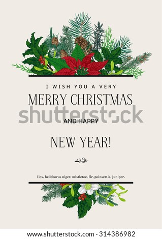 Vintage vector card. I Wish You A Very Merry Christmas And Happy New Year. Design element. - stock vector