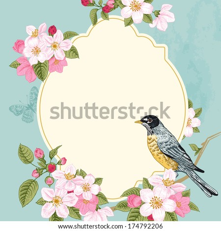 Vintage vector card spring. Bird on a branch of apple blossoms pink flowers on mint background. - stock vector