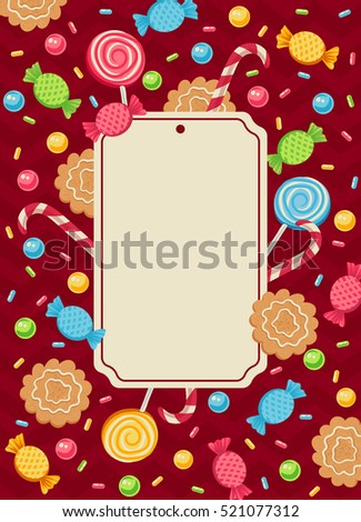 Vintage vector card with candies for parties or holidays. Christmas candies.