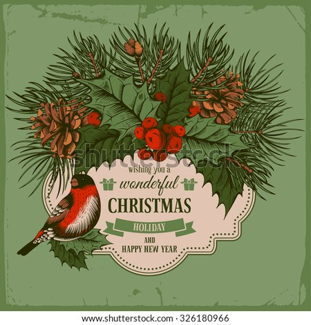 Vintage vector card with hand drawn in engraved style fir tree, poinsettia, holly berries and fir-cone for Christmas. Bird on a branch of holly berry. - stock vector