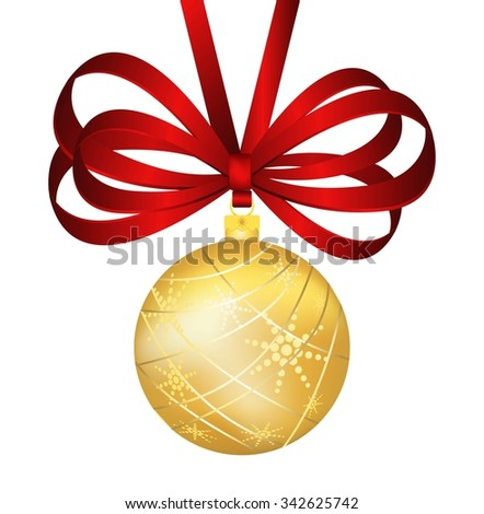 Vintage vector Christmas balls toys. Colorful New Year tree decoration toys isolated. Christmas tree toys, Christmas ball. Christmas decoration greeting card, red ribbon, Christmas decoration bow icon - stock vector