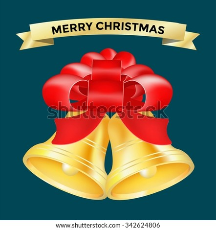 Vintage vector Christmas bell toy. Colorful New Year tree bell decoration toys. Christmas bell tree toy, Christmas bell. Christmas decoration bell greeting card, red ribbon, decor bow.Bell icon vector - stock vector