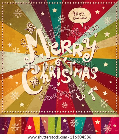 Vintage vector Christmas card - stock vector
