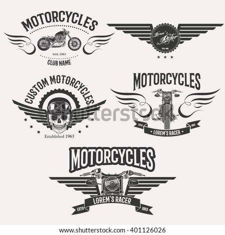 Vintage vector custom motorcycle racer stars logo set isolated on white background - stock vector