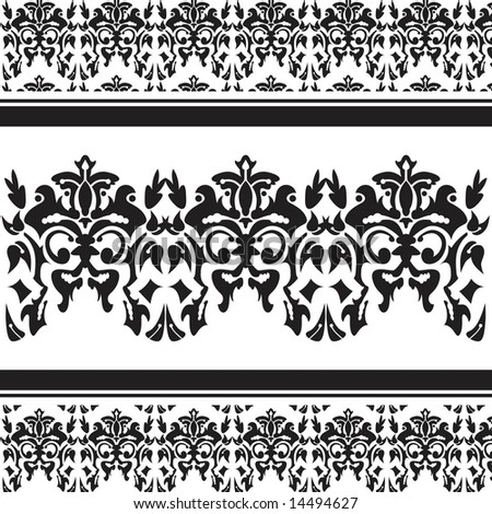 Vintage vector damask page design with space to add your own copy - stock vector