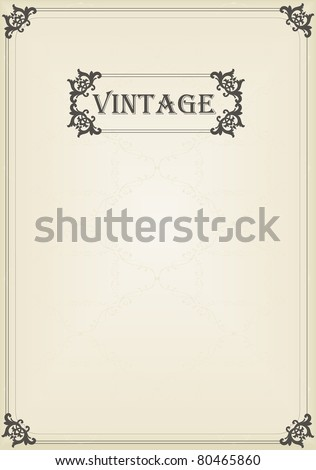 Vintage vector decorative frame for book cover or card background - stock vector