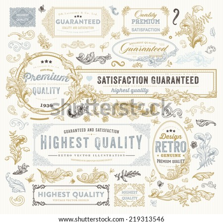 Vintage Vector Design Elements Collection. Retro Style Typographic Labels, Frames, Tags, Stamps and Emblems Set. Floral Patterns and Ornaments for Invitations. Modern Colors Version. - stock vector