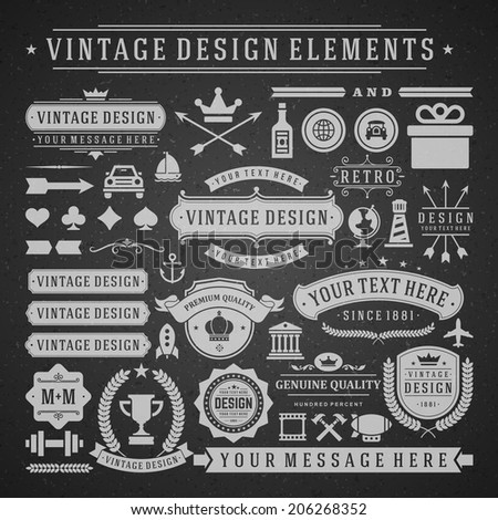 Vintage vector design elements. Retro chalk style golden typographic labels, tags, badges, stamps, arrows and emblems set.  - stock vector