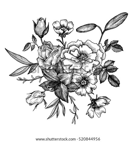 vintage vector floral composition, isolated element in victorian style, flowers, buds and leaves of roses, ink drawing, imitation of engraving, hand drawn composition