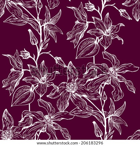 vintage vector floral seamless pattern, hand drawn design elements - stock vector