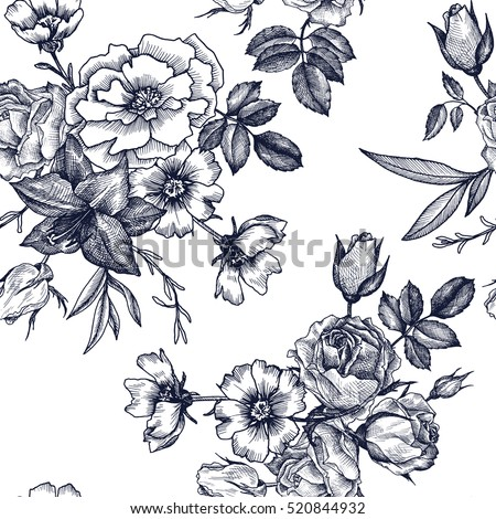 vintage vector floral seamless pattern in victorian style with flowers, buds and leaves, ink drawing, imitation of engraving, hand drawn background