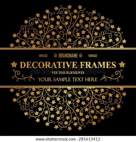 Vintage vector frame. Flower decorative motif. - stock vector