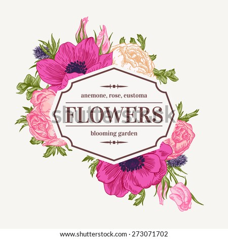 Vintage vector frame with summer flowers. Anemone, rose, eustoma, eryngium. - stock vector
