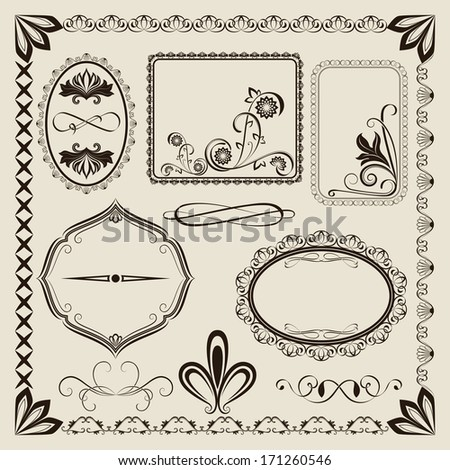 Vintage vector frames design isolated on beige background. - stock vector