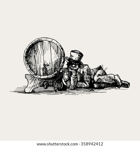 vintage vector hand drawing of beer barrel with drunk man for pub menu illustration or sign