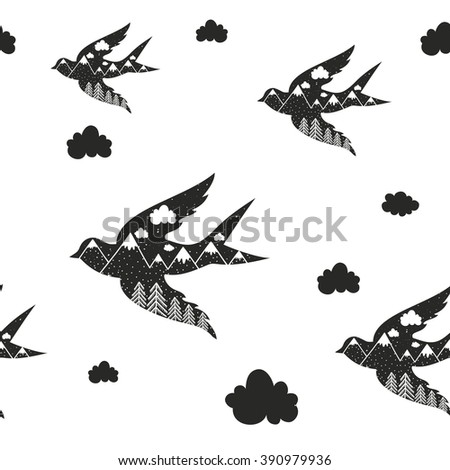 Vintage vector hand drawn style seamless pattern with black bird silhouette, forest and mountains. Inspirational and motivational illustration  - stock vector
