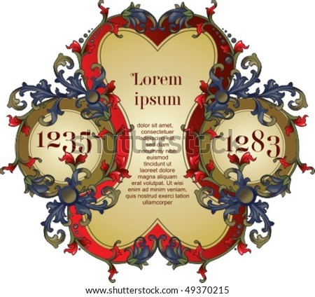 Vintage vector heraldry design element with place for text - stock vector