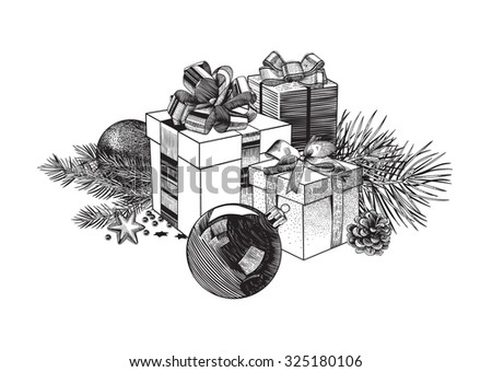 Vintage vector illustration. Christmas composition of gift boxes, balls and fir branches. Design element. Black and white. - stock vector