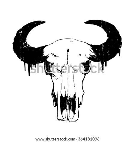 Vintage vector illustration - logo head skull of bull isolated on white background - stock vector