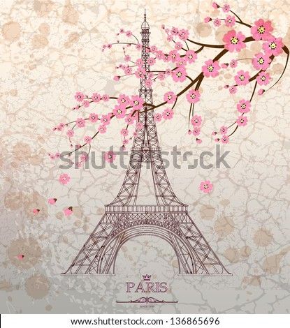 Vintage vector illustration of Eiffel tower on grunge background - stock vector