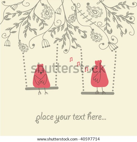 Vintage vector illustration with birds couple in love. - stock vector