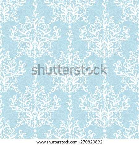 Vintage vector light blue branches damask seamless pattern background - stock vector