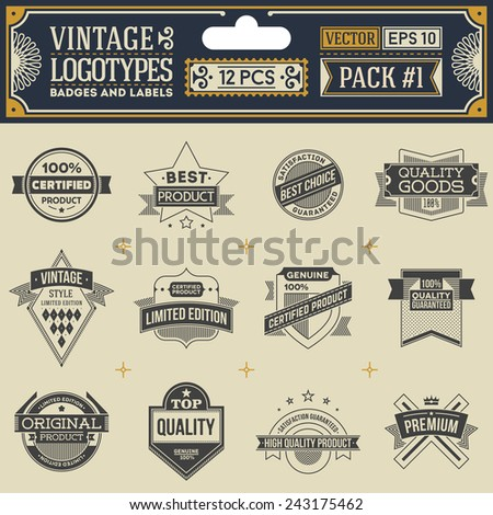 Vintage vector logotypes, insignias, badges and labels. Pack 1.