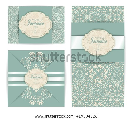 vintage vector luxury baroque damask style invitation card design. Background texture