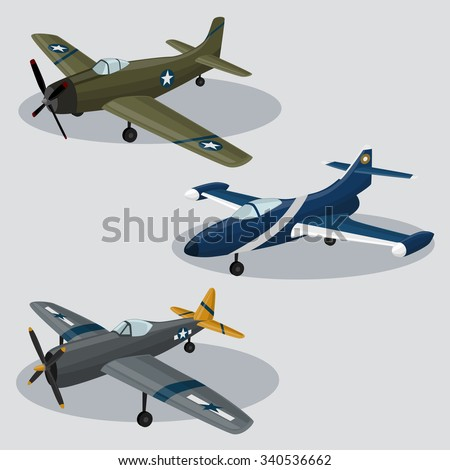 Vintage Vector Military Airplanes  image design set for your illustration, postcards, posters, sticker, label and other design need.  - stock vector