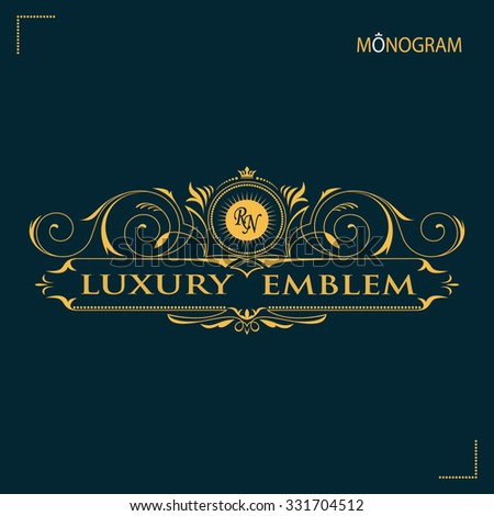 Vintage vector monogram. Elegant emblem logo for restaurants, hotels, bars and boutiques.  - stock vector