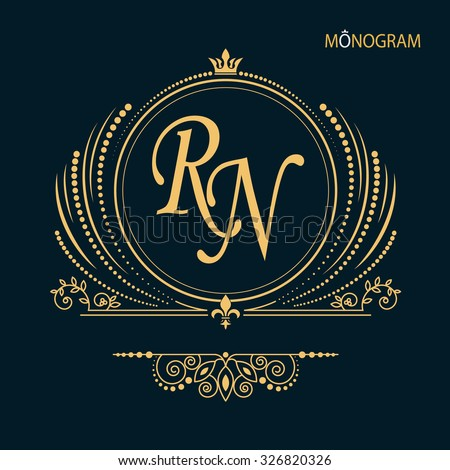Vintage vector monogram. Elegant emblem logo for restaurants, hotels, bars and boutiques. It can be used to design business cards, invitations, booklets and brochures  - stock vector