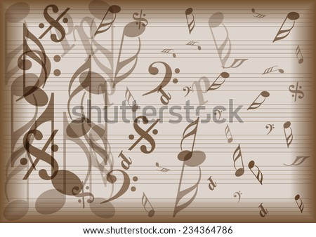 vintage vector music notes paper - stock vector