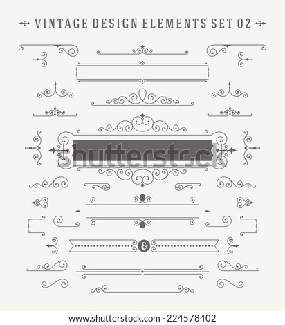 Vintage Vector Ornaments Decorations Design Elements. Flourishes calligraphic combinations retro design for Invitations, Posters, Badges, Logotypes and other design.  - stock vector