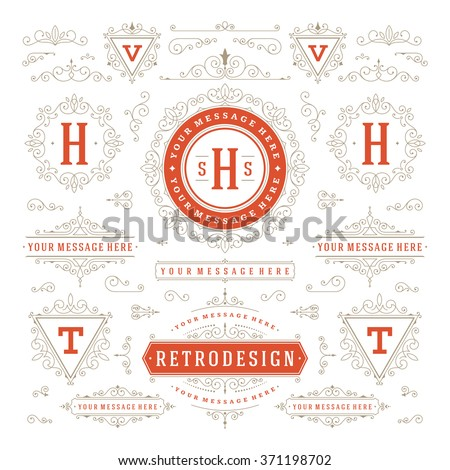 Vintage Vector Ornaments Decorations Design Elements. Flourishes calligraphic combinations Retro Logo, Royal Logos, Crest Logos, Greeting cards, Ornament Logos, Vintage logos, Invitation, Menu Design. - stock vector