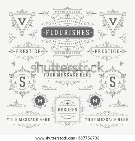 Vintage Vector Ornaments Decorations Design Elements. Flourishes calligraphic combinations Retro Logos, Royal Labels, Crest Badges, Frames. - stock vector