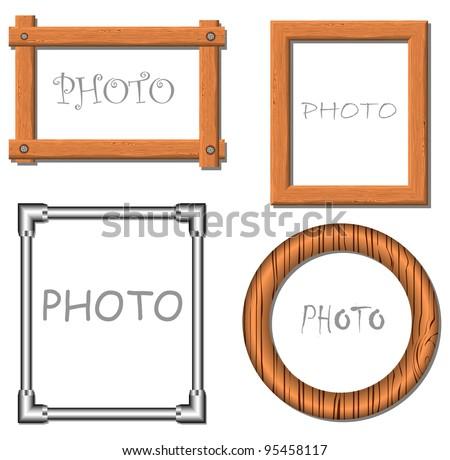 Vintage vector photo frames illustration - stock vector
