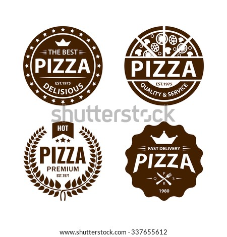 Vintage vector pizza logo, label, badge set 2